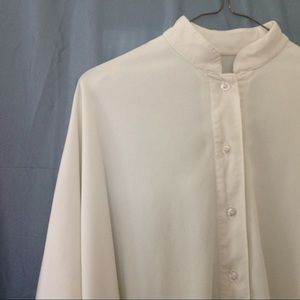 1970s unique off white blouse